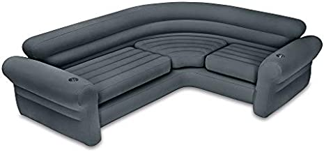Intex Inflatable Indoor Corner Couch Sectional Sofa w/Cupholders, Gray (2 Pack)