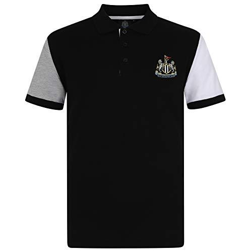 Newcastle United FC Herren Polo-Shirt mit Logo - Fußball - Schwarz mit Kontrastärmeln - XXL