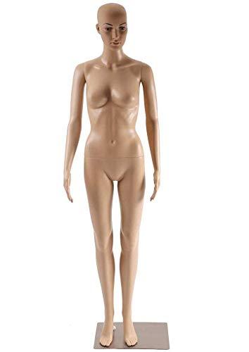 "Female Mannequin Torso Manikin Dress Form Adjustable Detachable Realistic Full Body Mannequin Model Display with Metal Base 69"" Plastic Head Turns Poseable Mannequin Adult Woman Dummy Mannequin Stand"