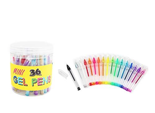 SKKSTATIONERY 36 Pcs Mini Glitter Gel Pens, 3.5 Gel Pens for Coloring, Assorted Colors.