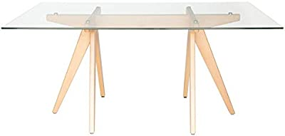 Aimee Trestle Rectangular Glass Dining Table | 160cm - Natural
