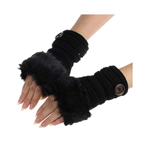 Frauen Warm Winter Faux Kaninchenfell Handgelenk Fingerlose Handschuhe FäUstlinge Nachahmung Fingerspitzen Warme Wollhandschuhe Damen Fingerhandschuhe Fingerlos Halb Strick(schwarz,freie Größe)