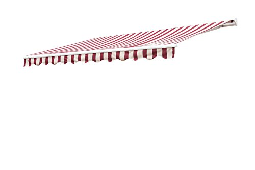 Sunjoy 14′ x 10′ Marquise Half-Cassette Motorized Retractable Awning - Red, Red Stripe