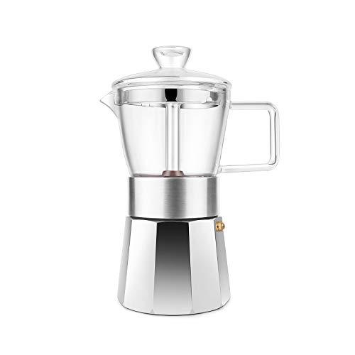 GEESTA Moka Pot Premium Crystal Glass-Top Stovetop Espresso Moka Pot - 6 cup - Coffee Maker, 240ml/8.5oz/6 cup (espresso cup=40ml) for 2021 Gifts Ideas