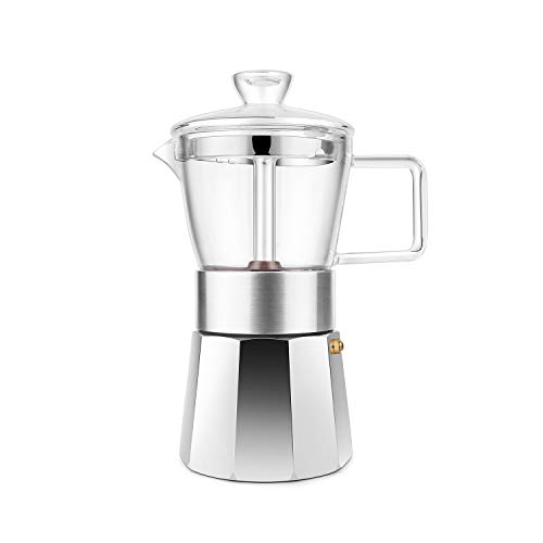 Great Deal! GEESTA Premium Crystal Glass-Top Stovetop Espresso Moka Pot - 6 cup - Coffee Maker