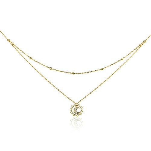 Zon Maan Vintage 925 Sterling Zilver Zon Maan Vorm Dubbele Lagen Choker Kettingen Hanger voor Vrouwen Zilveren Sieraden Maken