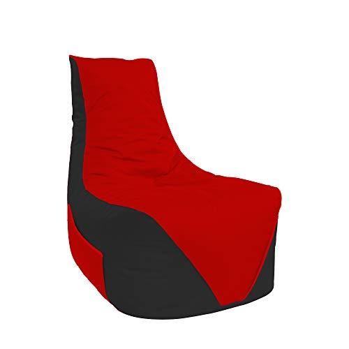 Lacasa Sitzsäcke Komfort Gamer mit Sitetentasche XL-XXL Kinder Erwachsene Indoor Outdoor Beanbag Sitzkissen (XXL - Erwachsene, Schwarz-Rot)