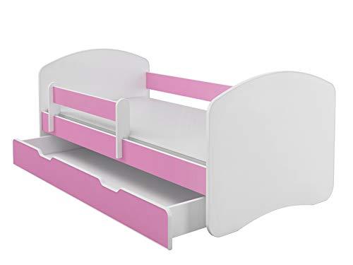 Kinderbett Jugendbett mit einer Schublade und Matratze Weiß ACMA II (180x80 cm + Schublade, Rosa)