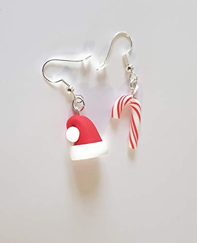 sucre d orge de noel rouge et blanc et bonnet pere noel boucles d oreilles cadeau noel