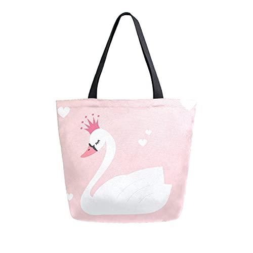 SunsetTrip Segeltuch-Tragetasche für Frauen, Tiervogel, weiß, Schwan, Umhängetasche, wiederverwendbar, große Einkaufstasche, Einkaufstasche, Handtasche mit Innentasche
