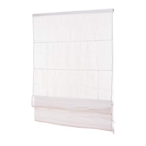 Fenster Raffrollo weiss / tageslicht Raffgardine Faltvorhang Montage ohne Bohren inkl Klemmträger viele Größen 40 / 45 / 50 / 60 / 65 / 70 / 75 / 80 / 90 / 100 / 110 / 120 x 130 oder 150 oder 220 cm (50x130 (B x H in cm))
