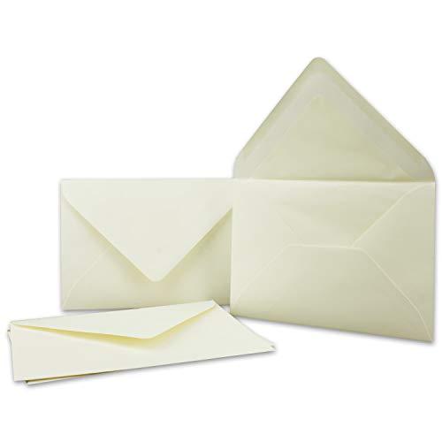 Kuverts in Creme 50 Stück Brief-Umschläge in DIN B6-12,5 x 17,6 cm Geripptes Papier - hochwertiges Seidenfutter für Weihnachten & Festliche Anlässe