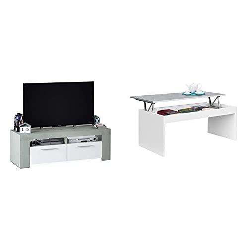 Habitdesign Mueble De Comedor Moderno, Modulo TV Salon, Modelo Ambit + Mesa De Centro Elevable, Modelo Zenit, Mesita Salon Comedor