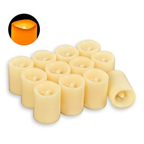 AOSOT Bougies Lumineuses à LED sans Flamme, Autonomie de Batterie 120 Heures, Scintillantes et Non Parfumées, Décoration de la Maison, Fêtes, Cérémonie, Piles Fournies, Lot de 12