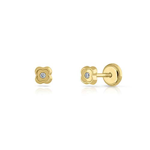 Ohrringe aus Gold für Neugeborene, Mädchen oder Frauen, 18 Karat Gold, Quader-Design mit Zirkonia, hochwertig und glänzend, Schraubverschluss für maximale Sicherheit.