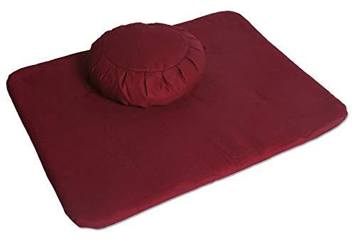 Blue Banyan Meditation Set, Zafu (Organic Buckwheat) and Meditation Flat Mat Set - Made in...