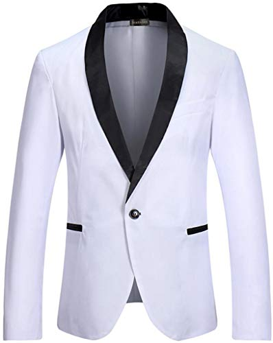 Jeansian JZA127 - Giacca da uomo slim fit, con un bottone, stile casual Jza129_bianco US S (Giacca Petto : 104/107 cm)