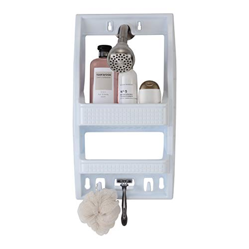 Review Bath Bliss White Multi Hanging Option Shower Caddy