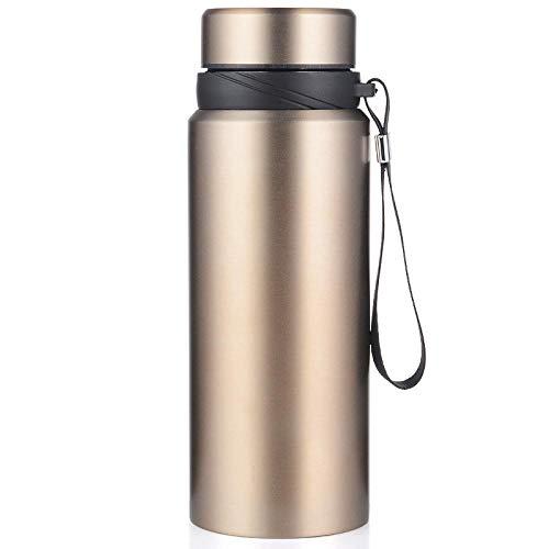 FPXNBONE Compact Acier Mug,Tasse Thermos en Acier Inoxydable Gran capacité avec Bouteille Sport en cor-Goln_1L, Inoxydable Tasse pour Camping Tasse Thermique
