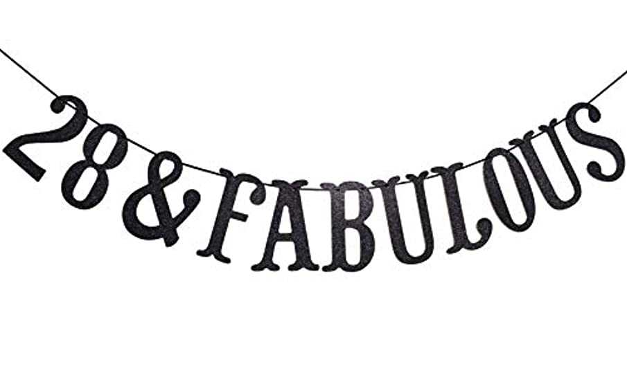 28 And Fabulous Black Glitter Hanging Sign Banner- 28th Birthday,Anniversary Party Supplies, Ideas and Decorations (Black)