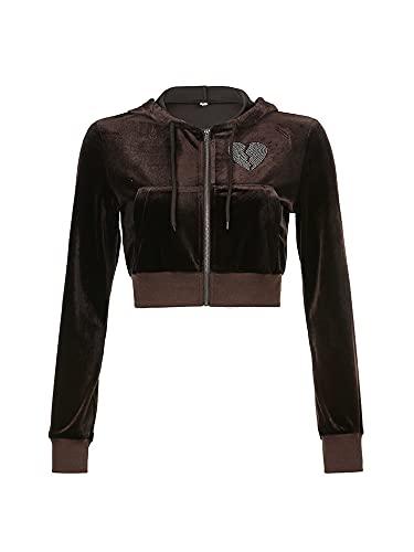 CharmShow 2 piezas de ropa casual para mujer con cremallera y diseño de corazón con diamantes de imitación de manga larga y falda de cintura alta con cordón, marrón, (Brown Hoodie), Medium