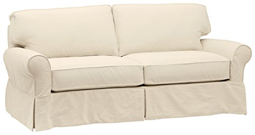 """Amazon Brand – Stone & Beam Carrigan Modern Sofa Couch with Slipcover, 88.5""""W, Natural"""