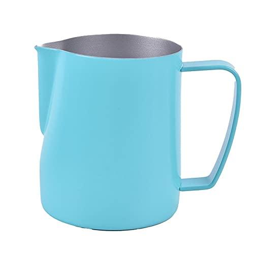 PPuujia Jarra para espumar de leche con leche y jarra para espumar de acero inoxidable antiadherente jarra de leche para café, capuchino, Latte Art (capacidad: 350 ml, color: GN)