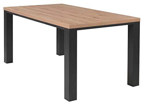 Esstisch Küchentisch Esszimmertisch | 160x90 cm | Dekor | Schwarzstahl | Asteiche