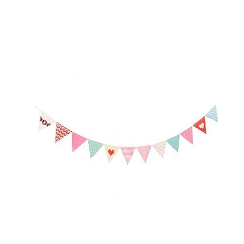 TONVER Banderas de Decoración, Papel Triángulo Pennant Colorido Pancartas para Cumpleaños Fiesta...