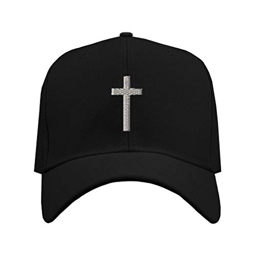 Baseball Cap Cross Silver Embroidery Acrylic Dad Hats for Men & Women Strap Closure One Size Black