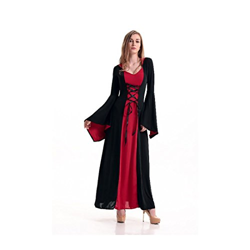 Koola Women's Déguisement Femme pour Hallowen Toussaint Cosplay Vampire Queen Costume Noble Robe avec Capuche Cosplay Vêtement