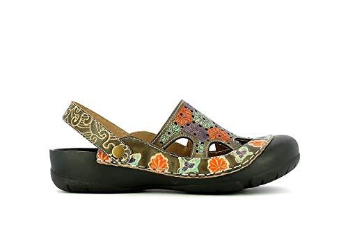 Laura Vita, BECZIERSO 41, Zuecos de piel para mujer, zapatos de ciudad de verano, con suela cómoda, estilo original de flores, color gris, Beige (marrón), 37 EU