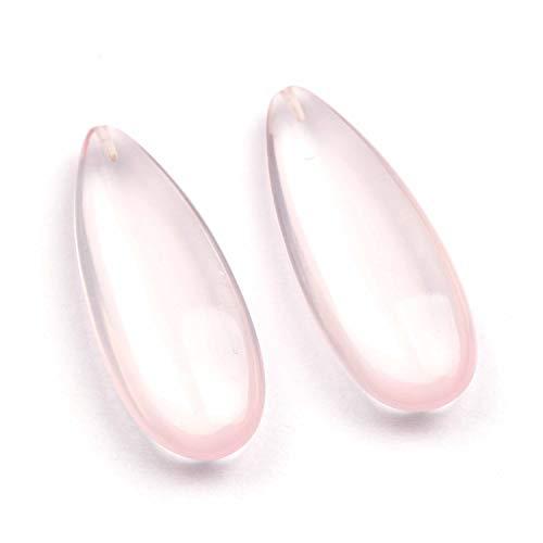 Natürlicher Rosenquarz Tear Drop Pair Einfacher, hochwertiger, großformatiger Bohrer, halbedler Edelstein Für die Herstellung von Schmuck