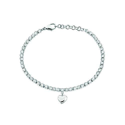 Sector No Limits Bracciale da donna, Collezione TENNIS, lunghezza 19 cm, in acciaio e cristalli - SANN06