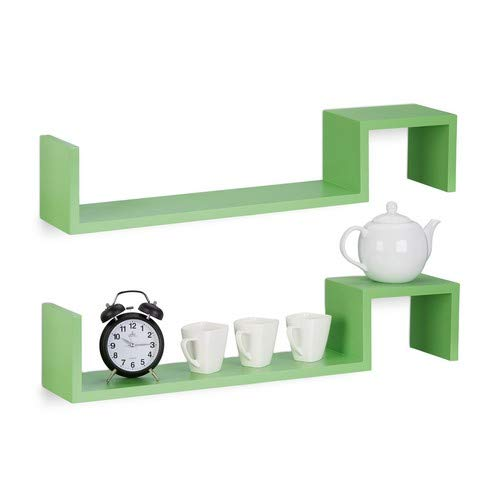 Relaxdays Hangkast, set van 2, boekenkast klein, houten rek om op te hangen, onzichtbare bevestiging, h x b x d: 15 x 80 x 15 cm, groen