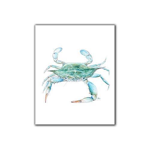 Blue Crab Art Print Blue Crab Wall Art, Blue Crab Wall Decor, Beach Art Coastal Watercolor Ocean Print Sea Life Painting Print