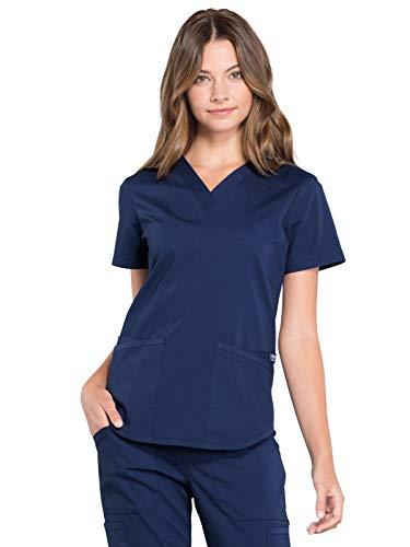 Workwear Professionals Women Scrubs Top V-Neck WW665, L, Navy
