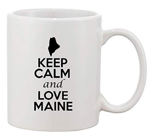 "Taza de cerámica con texto en inglés ""Keep Calm and Love Maine Country USA Patriotic Novelty Kitchen Mug Motivational Cup Regalos 325 ml"