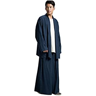 ZanYing Buddhist Monk Meditated Clothing Sets Plus Size Men Yoga Taichi Suits (M, Blue):Whiteox