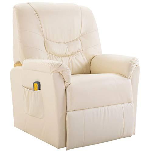 vidaXL Massagesessel Fernsehsessel Relaxsessel Massage+Heizung TV Sessel Creme
