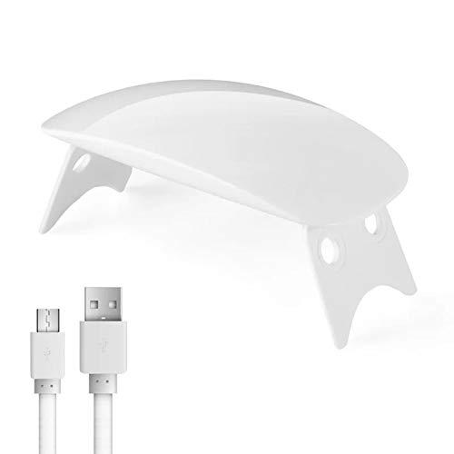 XinXiang - Mini lámpara de uñas LED UV para manicura (plegable, USB, 6 ledes)