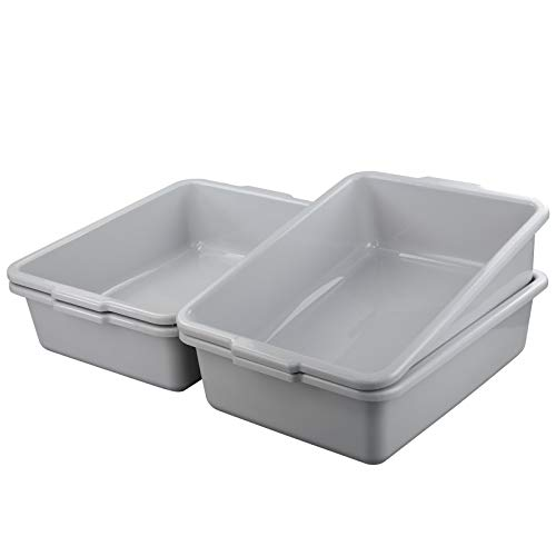 Qqbine Large Commercial Bus Tub Plastic Dish Pan, Light Grey, 4 Packs