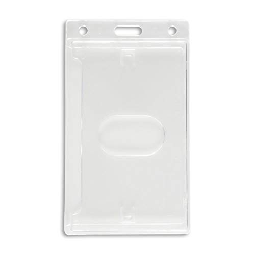 50 Pack Vertical ID Badge Holder - Securely Holds Anything Credit-Card Sized & Works with RFID Cards - Extra Durable Materials, No Wear & Tear On Cards, Easy Card Removal - ID Card Holder