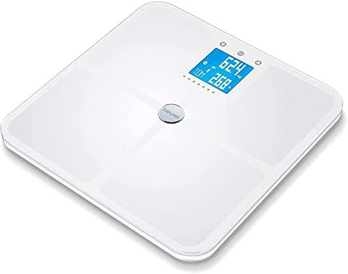 Beurer BF 950 Báscula diagnóstica blanca, medición de grasa y agua corporal, corporal, de porcentaje muscular y de masa ósea, cálculo de las calorías necesarias y del IMC, conexión a la app
