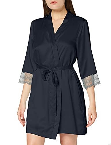Amazon-Marke: Iris & Lilly Damen Kimono aus Satin, Grau (Dark Grey), L, Label: L