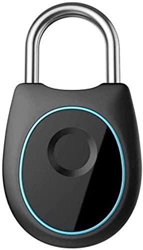 XUERUIGANG Candado de huellas digitales portátil, recargable USB, cerradura sin llave inteligente para el casillero, mochila, maleta, equipaje de viaje, gabinete, bloqueo de casilleros de escuela, neg