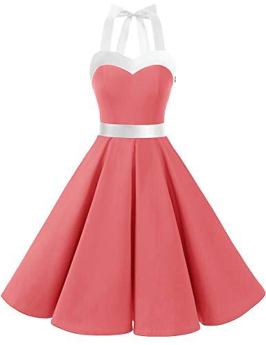 DRESSTELLS Damen Neckholder 1950er Vintage Retro Rockabilly Kleider Petticoat Faltenrock Cocktail Festliche Kleider Coral White M