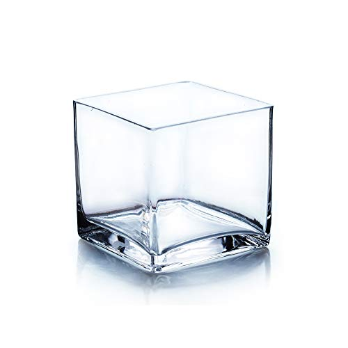 """WGV Cube Glass Vase, Candle Holder, 5""""x5""""x5"""", Clear Elegant Floral Accent Container Planter Terrarium Storage for Wedding Party Ceremony Event Office Home Decor, 1 Piece"""