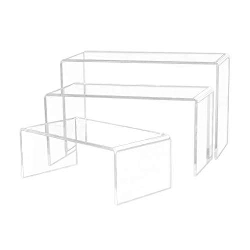 EXCEART Klare Acryl Display Riser Rechteck Stand Regal Vitrine Befestigungen für Spielzeug Modell Schmuck Schuhe Figuren 3St