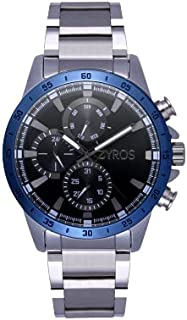 ZYROS Men's Silver Tone Metal Watch with Small Wide Dial Multi-Counter Inside, Classic Luxury Design Watch